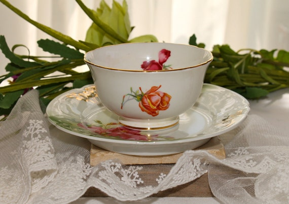 Hammersley Bone China bowl and plate,Red Rose pattern