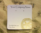 20 Sand Dollar Earring Display Cards - Customizable, Hand Stamped & Embossed Sand Dollar, Customize Any Embossing Color