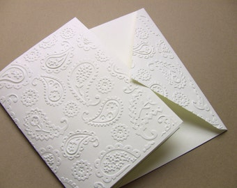 Set of 6 Hand Embossed Paisley Ivory Note Cards, Wedding Thank You Cards, Blank, and Matching Paisley Envelopes, Elegant