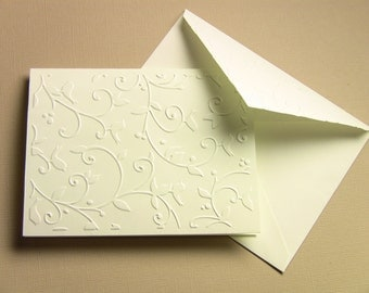 6 Hand Embossed Nature's Song Ivory Note Cards, Blank, and Matching Floral Envelope, Elegant