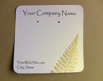 20 Custom Earring Cards, Golden Fern Leaf, Customize Any Embossing Color