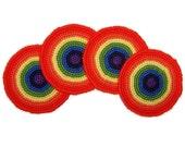 Rainbow Crochet Coasters (Set of 4)
