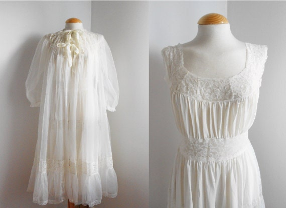 Romantic Vintage Nightgown Set / Sheer White Gauze / Slip Dress and Gown / Spring Lingerie.