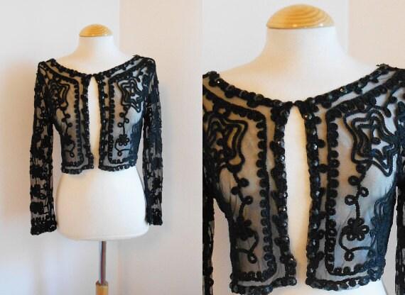 Vintage Bolero / Crop Black Sheer Bolero Style Jacket
