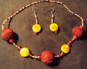 MOTHER'S DAY SALE 10% off- Red and Yellow Necklace and Earrings