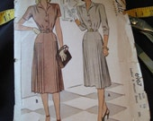 Vintage 1947 McCall 6967 Sewing Pattern Ladies Misses Dress Size 16 Bust 36