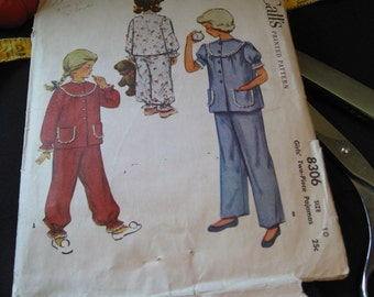 Vintage 1950's McCalls 8306 Sewing Pattern Girls Two Piece Pajamas Size 10 (Free Shipping when you buy five or more patterns)