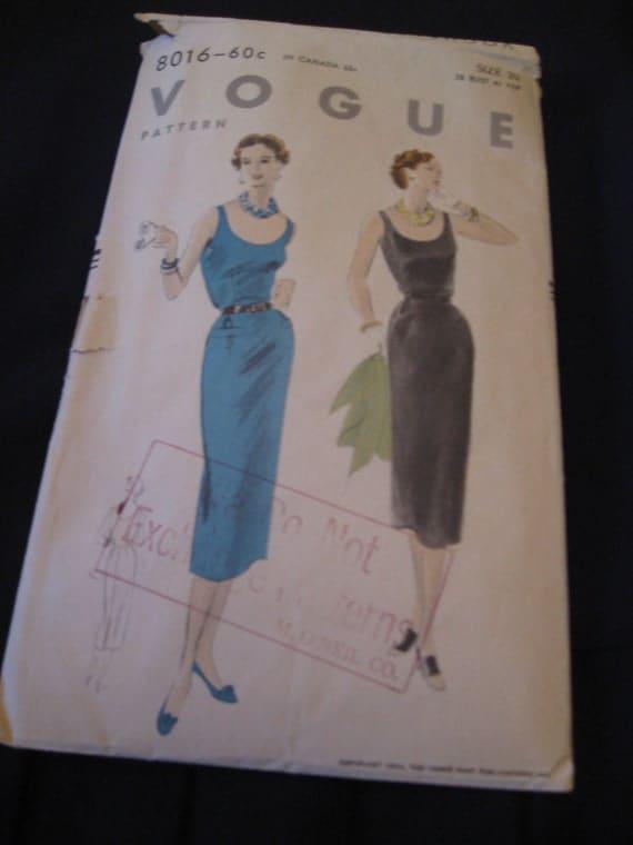 Vintage 1953 Vogue 8016 Sewing Pattern  Misses Wiggle Dress