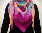 Beautiful, stylish and colourful knitted triangular scarf.