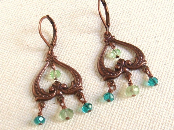 Elegant Chandelier Earrings Teal And Green Glass Beads Rustic Copper Connectors
