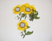 12  Pieces  Embroidery  Sun  Flower  With  5  Leaves