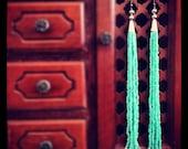 Turquoise Long Beaded Earrings