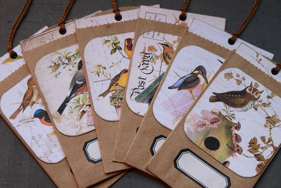 6 Birdhouse tags with brown craft bag envelope with label