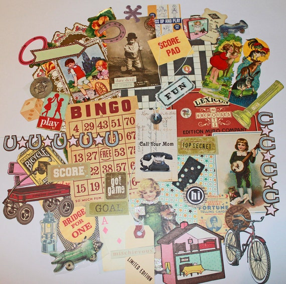 Toys and Games emphemera collage 45 piece paper pack