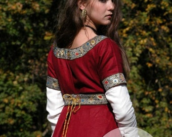 DISCOUNTED PRICE! Medieval Franks Red Dress and Underdress (Chemise) Garb with Belt