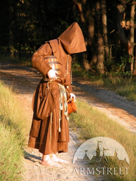 Discounted Price Medieval Monk Robe Hood Larp Costume