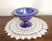 Imperial Glass Cobalt Blue Iridescent Compote