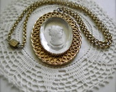 Vintage Cameo Intaglio NECKLACE Large and Signed WHITING & DAVIS Pendant