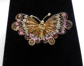 Vintage Silver Filigree Butterfly Brooch Pin marked 900