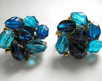 Vintage WESTERN GERMANY Cluster Earrings luscious Blues marked
