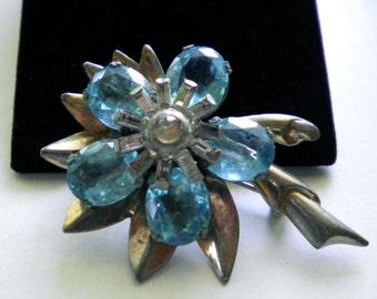 Vintage Flower Brooch Pin   Big Aqua Blue Glass Stones  1930's