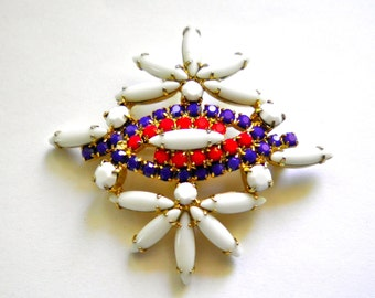 Vintage Patriotic Colors Brooch Pin with cabochons in Red White and Blue