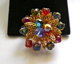 Rhinestone Glass Beads & Golden Filigree vintage Brooch Pin