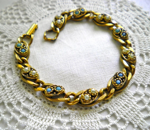 Vintage GOLDETTE NY Victorian Revival BRACELET faux pearls and turquoise