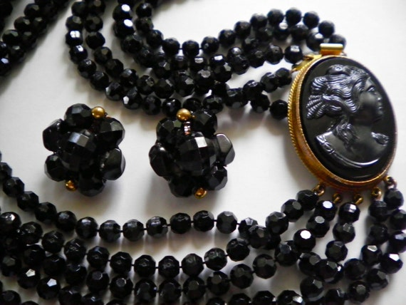 Vintage Black Glass Cameo Necklace and Earrings Set
