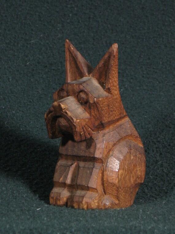 Rare Art Deco 1930's Scottie dog (Scottish Terrier) carved wood figurine.