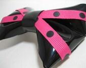 Black vinyl hair bow pink blue white polka dot zebra