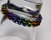 Rainbow chainmaille stretchy bracelet - latex free