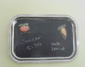 Chalkboard painted hanging magnetic tray