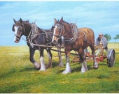 Working horses oil painting 'Afternoon ploughing'
