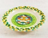 Vintage Plate. Yin Yang Oriental Chinese Japanese Eastern Pattern. Green Yellow White Seventies Psychadellic