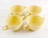 Vintage Soup Bowls. Set of 4 yellow serving bowls with two handles. Vintage Yellow Tableware. Retro crockery kitchenalia lemon canary yellow