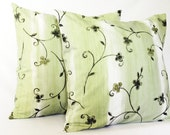 63%OFF - 2 Green and White Pillow Covers - Set of 2 - 18x18 Cushion Covers - Modern Floral Throw Pillow Covers