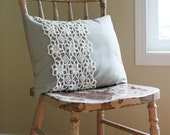Cream and Grey Pillow Cover - Flowered Doily -  Neutral Grey-Green Throw Pillow Cover