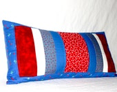 Red, White and Blue Quilted Lumbar Pillow Cover- Ladybugs