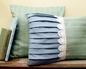 2 Ocean Beach Inspired Blue and Sea foam Pillow Covers with Shell shaped Lace