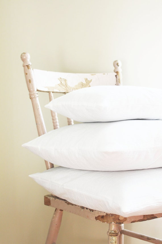 Solid White Pillow Covers - Textured Throw Pillows - Set of 3 - Bright White - Cotton Gauze