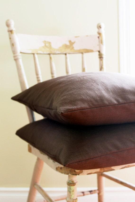 Brown Linen Pillow Covers - 18 x 18 throw pillows - Dark Brown Decorative Pillow - Set of 2