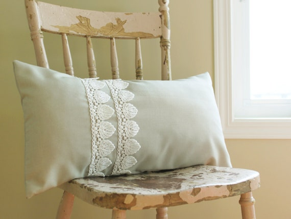 12 x 22 Lumbar Pillow Cover in Grey-Green with White Shell Shaped Lace.