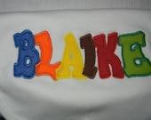 Personalized baby bib-- applique letters