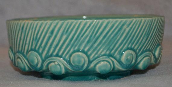 50% OFF COUPON - Vintage McCoy aqua pottery bowl