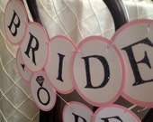 BRIDE TO BE  - Custom Glitter Chair Mini Banner.  For Bridal Showers, Bachelorettes, and Pre-Wedding Decoration -- Customize in any color