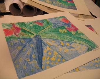 Butterfly nature monoprint printmaking