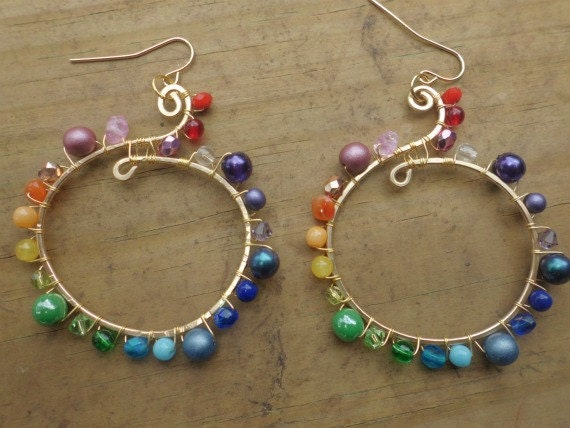 Rainbow Hoop Earrings - Rainbow and Gold Spiral Dangle Earrings - Colorful for spring