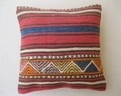"Modern Bohemian Home Decor , Embroidered Handwoven Striped Vintage Tribal Turkish Cicim Kilim Pillow cover 16"" x 16"""