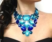 bib blue necklace bib bridal necklace bib prom necklace unique necklace bib party necklace summer necklace